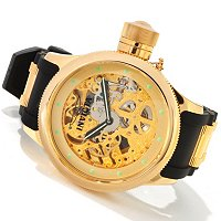 INVICTA MEN'S QUINOTAUR RUSSIAN DIVER MECHANICAL SKELETON STRAP WATCH