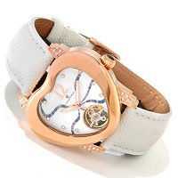 CONSTANTIN WEISZ WOMEN'S HEART SHAPE MOSAIC MOP MECHANICAL STRAP WATCH