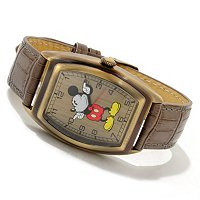 Disney Men's Vintage Mickey Mouse Quartz Leather Strap Watch