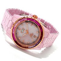 Oniss Women's Baguette Crystal Bezel Ceramic Bracelet Watch