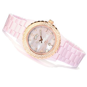 606-326 - Oniss Paris Women's Royale Crystal Accented Ceramic Bracelet Watch