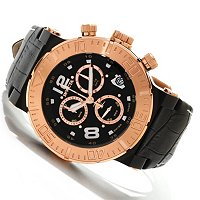 INVICTA RESERVE MEN'S OCEAN REEF SWISS CHRONOGRAPH LEATHER STRAP WATCH