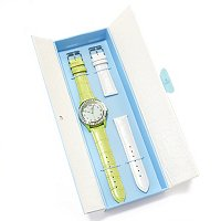 Arm Candy Women's Baguette Crystal Watch w/2 Interchangeable Leather Straps