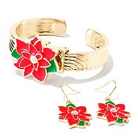 Arm Candy Holiday Design Cuff Watch w/coordinating earrings