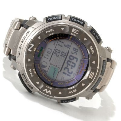 607-013 - Casio Men's Pathfinder Quartz Solar Atomic Titanium Bracelet Watch