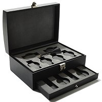 10-Slot Faux Leather Watch Storage Box