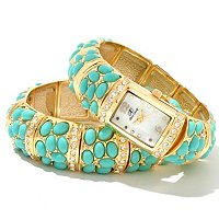 Arm Candy Women's Simulated Gemstone Stretch Watch & Matching Bracelet