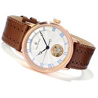 Constantin Weisz Men's Mechanical Leather Strap Watch