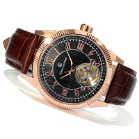 Constantin Weisz Men's Open Heart Automatic Leather Strap Watch