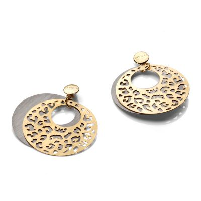 607-197 - Invicta Fiorentina Etno Chic Sterling Silver & 18K Gold Plated Leopard Print Cut-Out Earrings