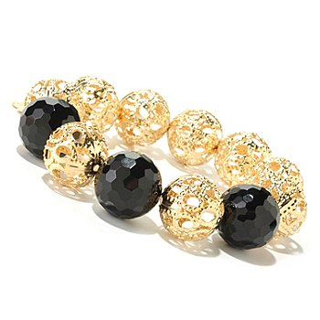 607-273 - Invicta Fiorentina 18K Gold Plated 6.75'' Onyx & Filigreed Bead Stretch Bracelet