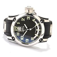 INVICTA MEN'S RUSSIAN DIVER DAY & DATE QUARTZ POLYURETHANE STRAP WATCH