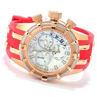 INVICTA RESERVE WOMEN'S BOLT SWISS CHRONO MOP DIAL STRAP WATCH W/3-SLOT DC