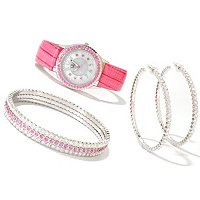 Lady Diva Women's Strap Watch, 3 bangles & hoop earrings set