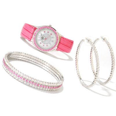 607-391 - Lady Diva Women's Quartz Strap Watch w/ Three Bangles & Hoop Earring Set