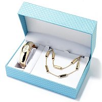 Lady Diva Women's High Polished Bangle Watch & Coordinating Necklace