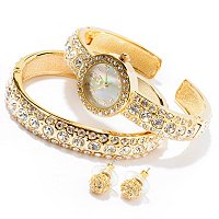 Lady Diva Crystal Cuff Watch, Bangle & Earring Set