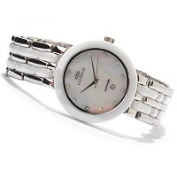 ONISS WOMEN'S DAISY MOP STAINLESS & CERAMIC BRACELET WATCH
