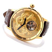 ADEE KAYE MEN'S DRAGON MECHANICAL MOVEMENT LEATHER STRAP WATCH