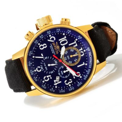invicta 46mm i quartz chronograph leather canvas
