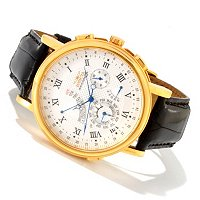 TTV INVICTA MENS MINUTE REPEATER QUARTZ PERPETUAL CALENDAR STRAP WATCH