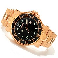 RENATO MEN'S TREX DIVER QUARTZ GMT ROSETONE BRACELET WATCH