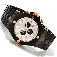 RENATO MEN'S WILDEBEAST SWISS CHRONOGRAPH MOP DIAL BLACK BRACELET WATCH