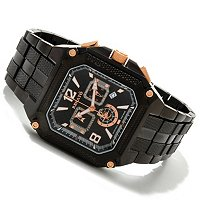 RENATO MEN'S COUGAR SQUARE SWISS CHRONOGRAPH BLACK BRACELET WATCH