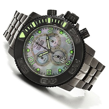 607-749 - Invicta Men's Sea Hunter Swiss Quartz Chronograph Mother-of-Pearl Bracelet Watch