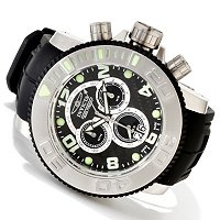 INVICTA MENS SEA HUNTER SWISS CHRONO BIG DATE PU STRAP W/ 8 SLOT DC
