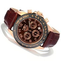 INVICTA MEN'S ELEGENT SPEEDWAY QUARTZ CHRONOGRAPH LEATHER STRAP WATCH