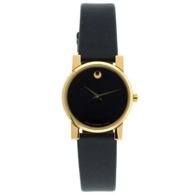 608-250 - Movado Women's Black Leather Strap Watch