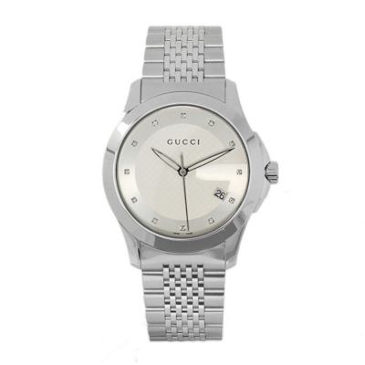 608-703 - Gucci Men's Silver-Tone Dial & Stainless Steel Bracelet Watch