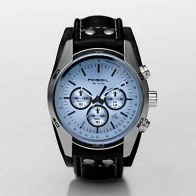 608-976 - Fossil Men's Quartz Chronograph Leather Strap Watch