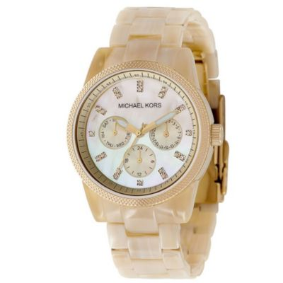 609-004 - Michael Kors Jet Set Women's Quartz Chronograph Horn Resin Bracelet Watch