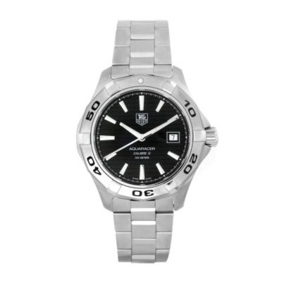 609-518 - Tag Heuer Men's Aquaracer Swiss Quartz Black Dial Silver-tone Bracelet Watch