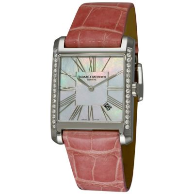 609-692 - Baume & Mercier Women's Swiss Quartz Mother-of-Pearl Dial Pink Leather Strap Watch