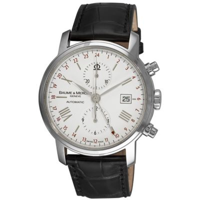 609-715 - Baume & Mercier Men's Swiss Automatic GMT Leather Strap Watch
