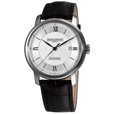 609-719 - Baume & Mercier Men's Swiss Automatic Black Crocodile-Pattern Leather Strap Watch
