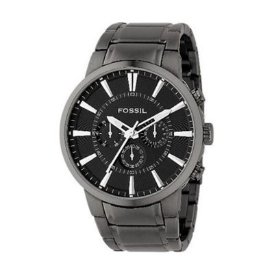 610-079 -  Fossil Men's Japanese Quartz Round Case Chronograph Black Dial Bracelet Watch