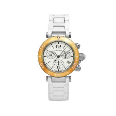 610-374 - Cartier Women's Pasha Swiss Quartz Tachymeter White Dial Rubber Strap Watch