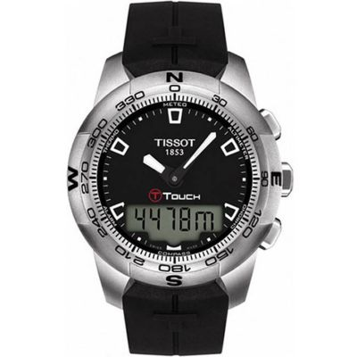 610-568 - Tissot Men's T-Watch Swiss Quartz GMT Digital Display Altimeter Thermometer Rubber Strap Watch