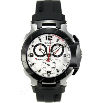 610-571 - Tissot Men's Race Swiss Quartz Chronograph Tachymeter Black Rubber Strap Watch