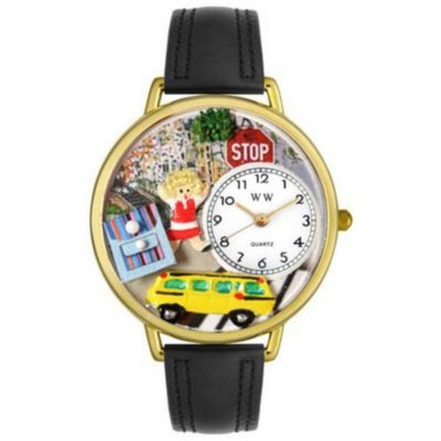 611-289 - Whimsical Watches Mid-Size Japanese Quartz School Bus Driver Black Leather Strap Watch