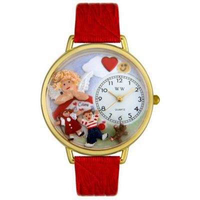 611-297 - Whimsical Watches Mid-Size Day Care Teacher Quartz Movement Miniature Detail Red Leather Strap Watch
