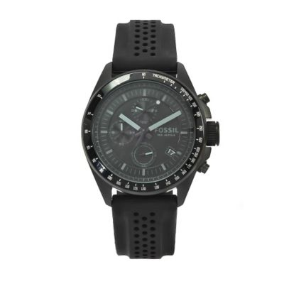 611-346 - Fossil Men's Decker Quartz Chronograph Black Rubber Strap Watch