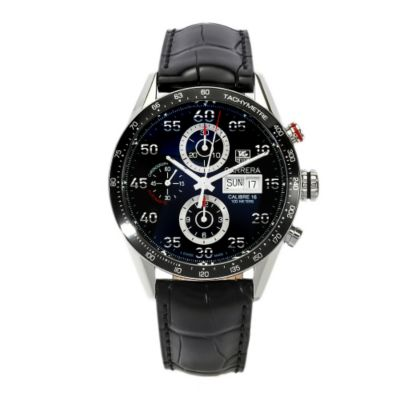 611-385 - Tag Heuer Men's Carrera Swiss Automatic Chronograph Leather Strap Watch