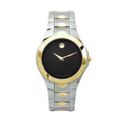 611-875 - Movado Men's Luno Swiss Made Quartz Black Dial Silver-tone/Gold-tone Stainless Steel Bracelet Watch