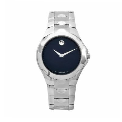 611-885 - Movado Men's Luno Swiss Made Quartz Black Dial Silver-tone Stainless Steel Bracelet Watch