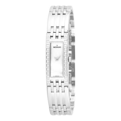 612-138 - Movado Women's Esperanza Baguette Swiss Quartz Diamond Accent Mother-of-Pearl Dial Bracelet Watch